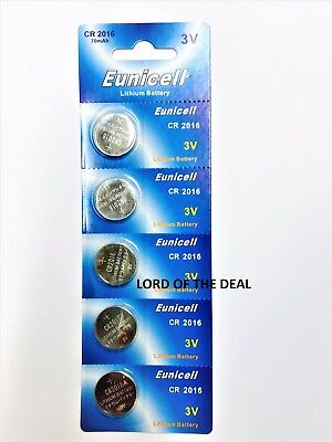 5 X Eunicell Cr2016 R2016 Dl2016 2016 3Lithium Button / Coin Cell Battery