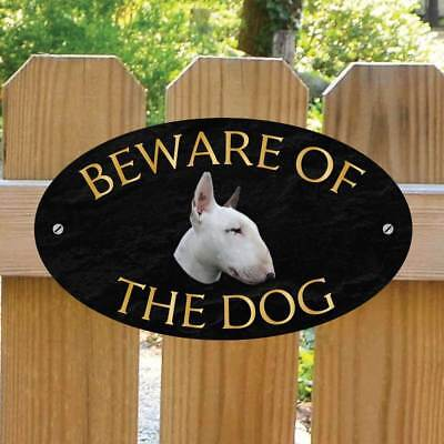 Beware of the English Bull Terrier  Gate Sign, Outdoor Beware of the Dog Gate