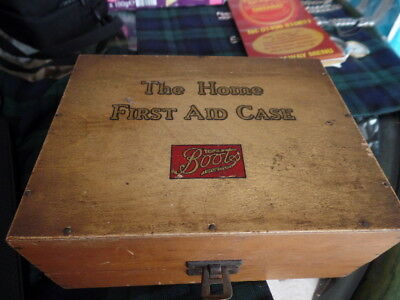 """Vintage Wooden Boots """"The Home First Aid Case"""" Box   contents, instructions"""