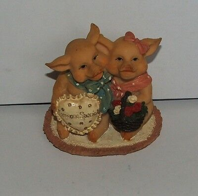 "Cute Regency Fine Arts ""Someone special"" pigs ornament"
