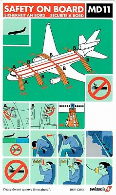 Safety Card SWISSAIR MD-11 *VERY RARE* 1095-12063 Swiss Switzerland Schweiz