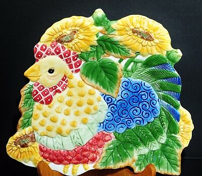 Fitz & Floyd Just Us Chicks 3D Wall Art Serving Platter Sunflowers Farmhouse New