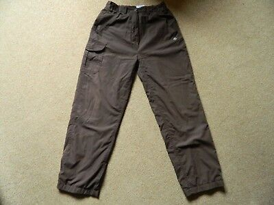 Ladies Craghoppers Winter Lined Solar Dry Walking Hiking Trousers 12 S in Brown