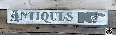 Primitive Double Sided Wooden Sign Antiques with hand arrow Rustic Primitive
