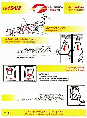 Safety Card ERAM AIR TU154M *UNIQUE OPPORTUNITY* Iran Airline Tupolev Soviet 154