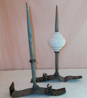 Pair of Vintage Hammered Aluminum Lightning Rods W/ Roof Mounts