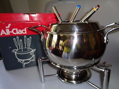 All Clad Fondue Set Pot Forks Stand In Box  Pre-Owned Great For Chocolate Temper
