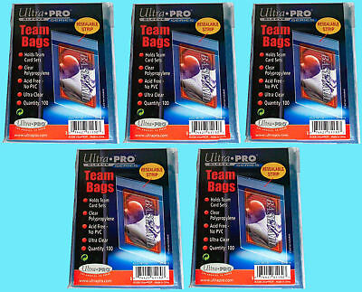 500 Ultra Pro TEAM SET BAGS Resealable Strip Trading Card Baseball UV 5 Packs