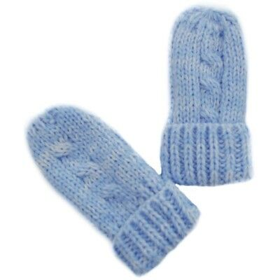 Baby boys girls infants blue cable knitted Winter mittens Soft Touch 0-12 months