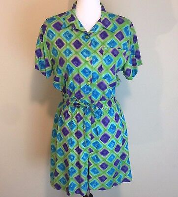 Vtg 80s Romper Jumper Shorts Shirt Geometric Print 90's Medium Blue Green Collar
