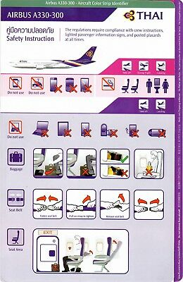 Safety Card THAI AIRWAYS AIRBUS A330-300 *RARE JUNE 2013 Thailand Air Airline