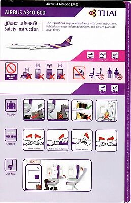 Safety Card THAI AIRWAYS AIRBUS A340-600 *RARE February 2014 Issue Thailand Air