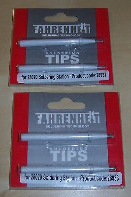 4pcs Fahrenheit soldering tips (2x28931 and 2x28933) for 28020 soldering station