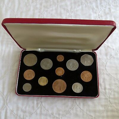 LAST STERLING FIRST DECIMAL BRITISH 12 COIN DOUBLE SET - cased