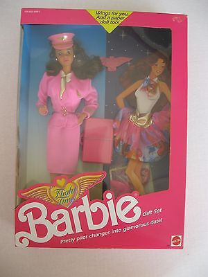 1989 Flight Time Barbie Brunette Doll Gift Set-Pilot-Steffie Face--NRFB