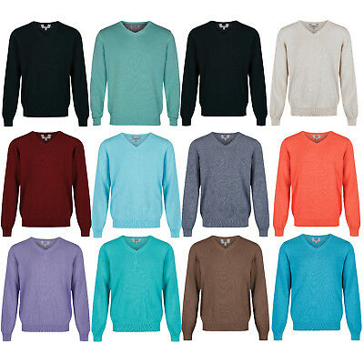 Marks & Spencer Mens V Neck Jumper New M&S Pure Cotton Knitted Sweater Pullover