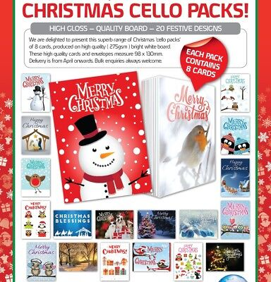 400 CHRISTMAS CARDS IN PACKS OF 8, JUST 43p per 8, 15 designs, GREAT QUALITY!