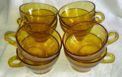 Set of 8 Amber Pressed Glass Tea Coffee Cups