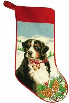 Festive Bernese Mountain Dog Needlepoint Christmas Stocking