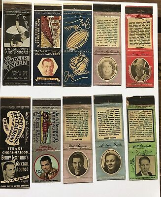 lot of collectible 10 Boxing ~ MATCHBOOKS ~1940s -1950s