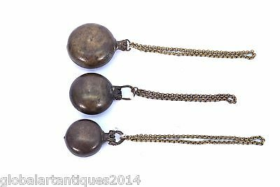 Lot Of 3 Antique Ethnic Brass Betel Lime Paste Chuna-Dani Box With Chain. G78-18