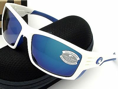 NEW Costa Del Mar CORTEZ White w/ Blue Logo & 580 Blue Mirror Glass 580G