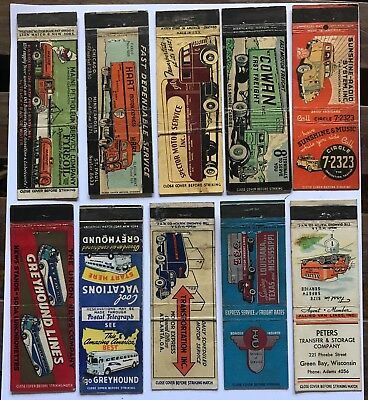 lot of collectible 10 Truck ~ MATCHBOOKS ~1940s -1950s