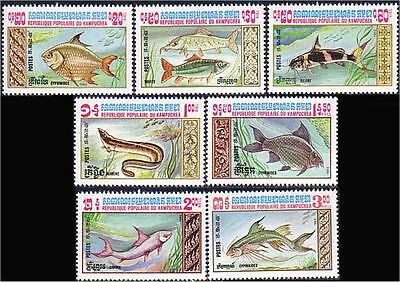 Cambodia Fish Fishes MNH ** (8)