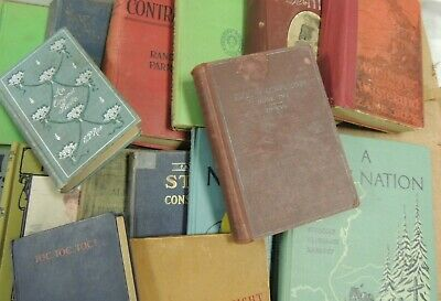 Lot of 10 RANDOM Vintage Antique Books DIY Distressed Mixed Color Decor Hardback