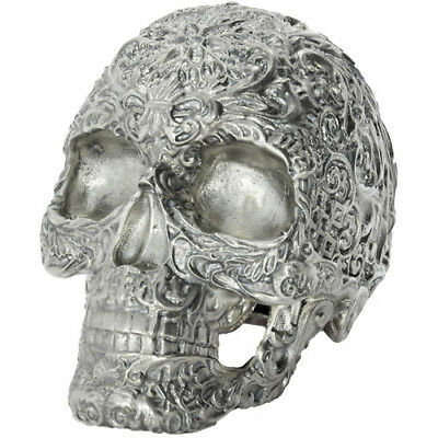 Skull Of The Dead 15 oz .925 Silver Antiqued Finish Halloween USA Made Figurine