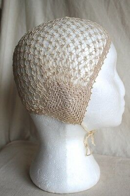 Antique Tatted Crochet Baby Childs Bonnet - Christening - Natural - Very Good