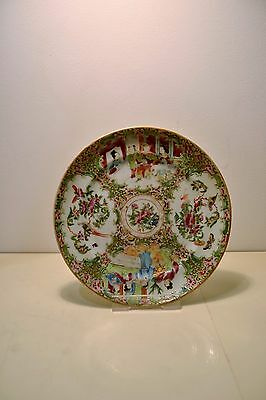 Antique 19th Century Chinese Canton Hand Painted Porcelain Plate Dish
