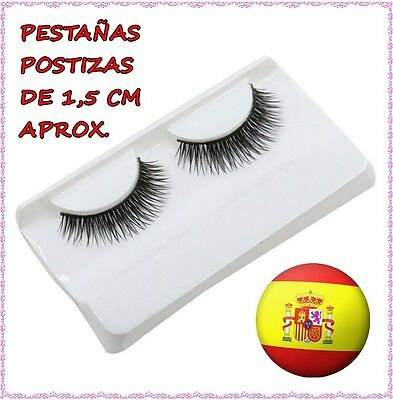 Par de pestañas postizas falsas largas 1,5 cm negras Pair of false eyelashes