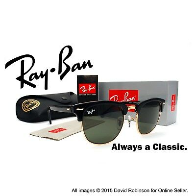 New Ray-Ban Clubmaster Sunglasses Black Frames Classic Green Lenses RB 3016 51mm