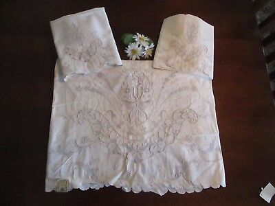 Madeira Sheet & Pillowcases Gray Embroidery Cutwork Floral Pattern, Vintage NWL