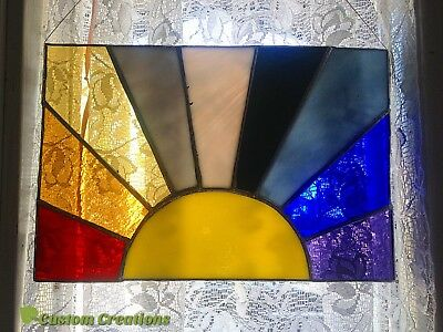 Sunrise Sunset Stained Glass Rainbow Color