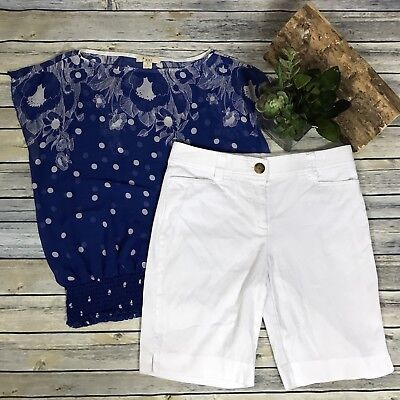 2 pcs womens clothing lot outfit Forever21 Size Sm top, Counterpart white shorts