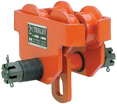 2 Ton Push Beam Trolley For Heavy Loads To 4000 lb Fits Straight and amp; Beam