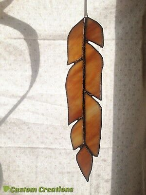 Yellow Stained Glass Feather Window Art