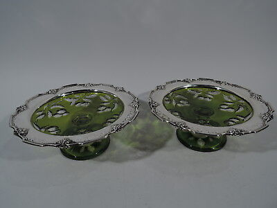 Gorham Compotes - 1434D - American Sterling Silver & Cut to Clear Green Glass