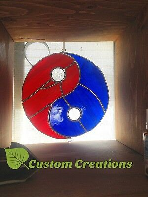 Yin Yang Blue and Red Water and Fire Stained Glass Window Art