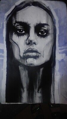 """Oil and acrylic painting ORIGINAL CANVAS Portrait By L Dolan 16x24"""""""