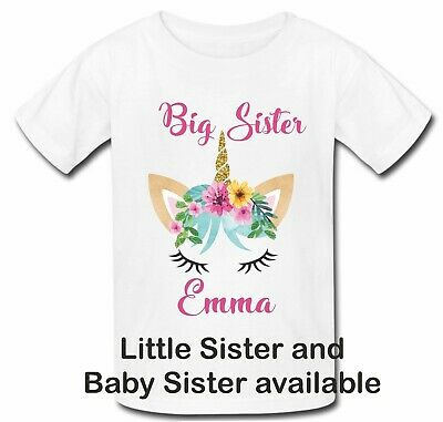 Personalised unicorn face big sister little sister top t shirt brother new baby
