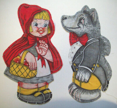 Little Red Ridinghood Wolf cut and sewn never finished fabric decor toy pillow