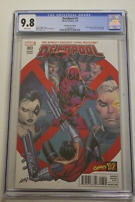 DEADPOOL #3 Liefeld X-Force Homage Cover Cable Domino CGC 9.8 PERFECT CASE!