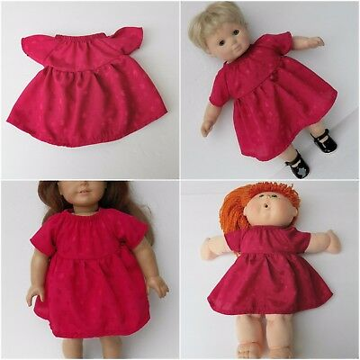 """Cabbage Patch 16"""" KIDS Doll Clothes & Bitty Baby & 18 inch Red Satin Silk Dress"""