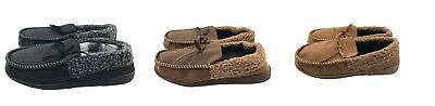 Mens Suede Shearling Moccasin Slippers Moc Toe Slip On Shoes