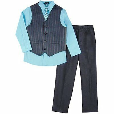 GEORGE Boy's 6, 8, 12 or 14 VEST SET 4-Pc SHIRT TIE VEST & PANTS Blue ~ New