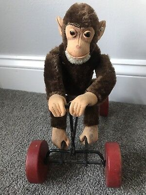 Very Rare Vintage Steiff Record Monkey On Wheels With Button In Ear Nice No Res