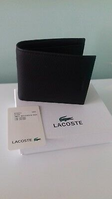 Genuine Lacoste Black Pass Case Coin Pocket Wallet NH0627J Leather New in Box.